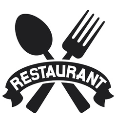 crossed fork and spoon - restaurant symbol vector image vector image
