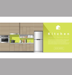 Interior design Modern kitchen background 3 vector image vector image