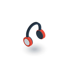 music headphones isometric flat icon 3d vector image