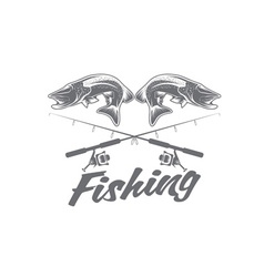 vintage fishing design template vector image