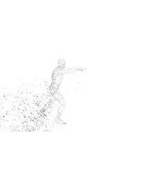 Conceptual abstract man touching or pointing to vector
