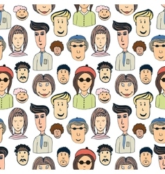 Hand drawn seamless pattern with crowd of vector image