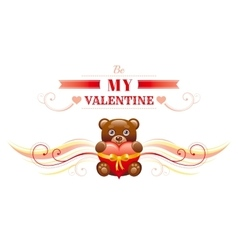 Happy Valentines day border toy bear with heart vector image vector image