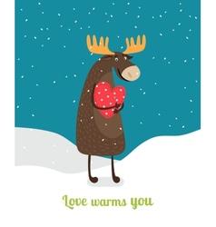 Love warms you Cute moose hugging big red heart vector image vector image