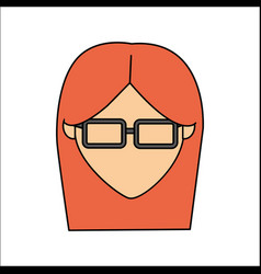 people avatar face woman with glasses icon vector image