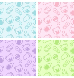 Seamless Baby Shower Patterns vector image vector image