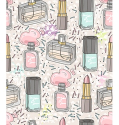 Seamless beauty pattern with make up vector image