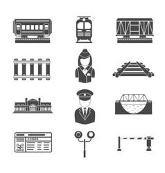 Set of railway black icons vector image vector image