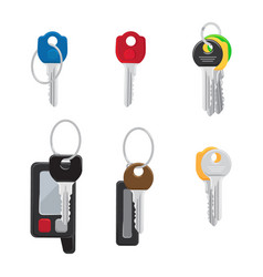 six different keys set isolated vector image vector image