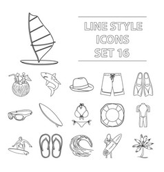 surfing set icons in outline style big collection vector image vector image