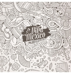 Cartoon hand-drawn doodles latin american frame vector
