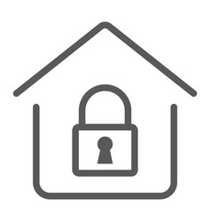 home lock line icon real estate and home vector image