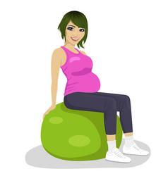 pregnant women on exercise balls vector image