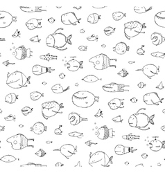 Cartoon Seamless Pattern Funny Childish Fish Black vector image vector image