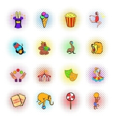 Circus comics icons set vector