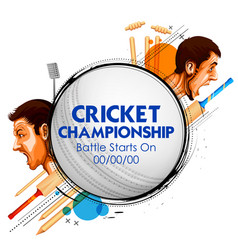 cricket players of cricket championship and vs vector image vector image