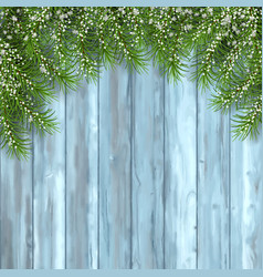 fir tree on wooden background vector image vector image