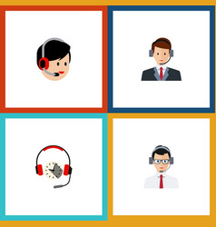 Flat icon hotline set of operator help headphone vector