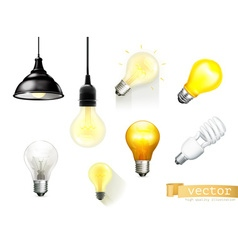 Light bulbs set of icons vector
