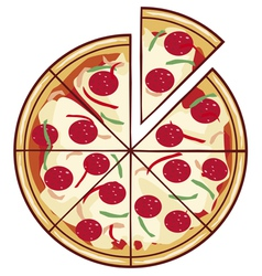pizza with a slice vector image vector image