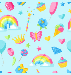 seamless pattern with fantasy and birthday party vector image