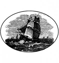 Ship in the sea vector