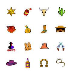 wild west icons set cartoon vector image