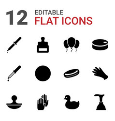 12 rubber icons vector