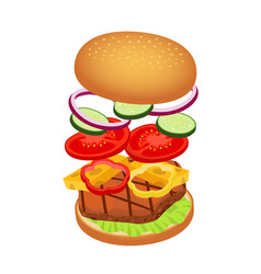 3d hamburger with ingredients fast food vector image