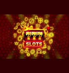 777 slots neon icons casino slot sign machine vector image