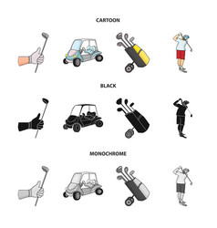 A gloved hand with a stick a golf cart a trolley vector