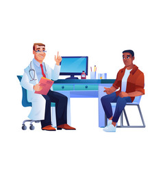 afro american man in doctors office consultation vector image