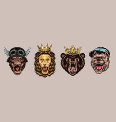 Animal angry characters set vector