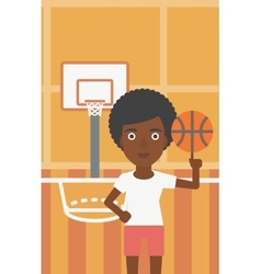Basketball player spinning ball vector