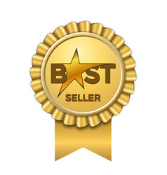 best seller award ribbon icon gold badge isolated vector image