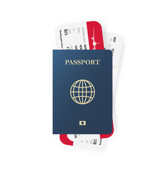 Blue passport and boarding pass tickets realistic vector