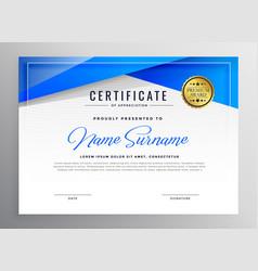 Blue professional diploma certificate design vector