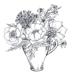 Bouquet with hand drawn flowers and plants in the vector image