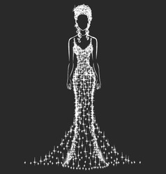 Brilliant wedding dress vector