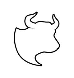 bull horn animal silhouette farm icon vector image