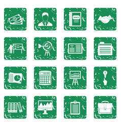 Business plan icons set grunge vector