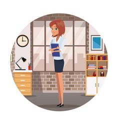 businesswoman cartoon at office vector image