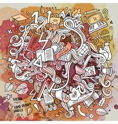 Cartoon doodles hand drawn School vector