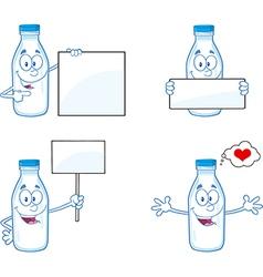 Cartoon milk bottles vector image