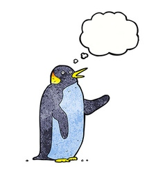 cartoon penguin waving with thought bubble vector image