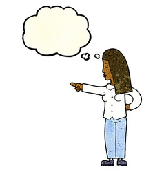 Cartoon woman pointing with thought bubble vector
