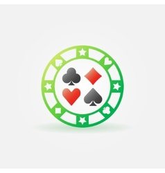 Casino green chip icon vector image