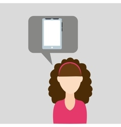 Cellphone icon with woman character design vector