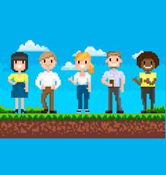 choose superhero adventure pixel game vector image
