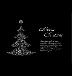 Christmas card template with white christmas tree vector